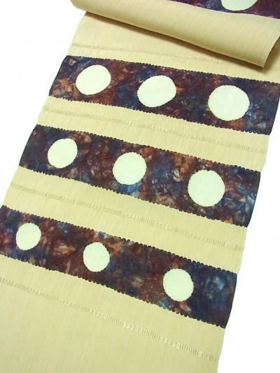手織生紬地 絞り染9寸帯